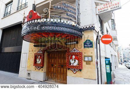 Paris, France-january 24, 2021 : Cabaret Chez Raspoutine Is A Legendary Place Of Parisian Night Life