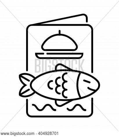 Fish Menu Icon Vector. List Of Menu And Seafood, Salmon Are Shown In Outline Style. Herring, Mackere