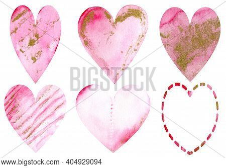 Watercolor Pink Hearts With Golden Spots Isolated On The White Background. Valentine's Day Beautiful