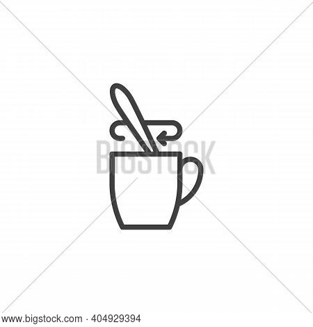 Tea Stirring Spoon Line Icon. Linear Style Sign For Mobile Concept And Web Design. Cup Of Tea With S