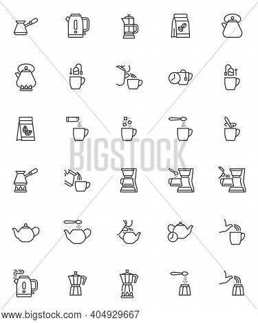 Brewing Tea And Coffee Instruction Line Icons Set. Linear Style Symbols Collection, Outline Signs Pa