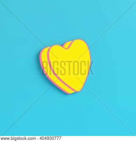Yellow Abstract Heart Shape On Bright Blue Background In Pastel Colors. Minimalism Concept. 3d Rende
