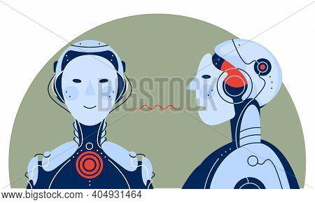 Artificial Intelligence Communicating Itself Concept Trendy Illustration