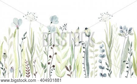 Horizontal seamless pattern with greenery wildflowers, abstract plants, flowers and leaves. Watercolor illustration in pastel green and blue colors. Floral border on white background.