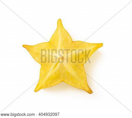 Slice Of Juicy Carambola Or Star Fruit Isolated On White Background. Ingredient For Cocktails, Salad