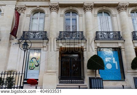 Paris, France-january 24, 2021 : Christies Is One Of The Best Worldwide-known Auction Houses In Pari