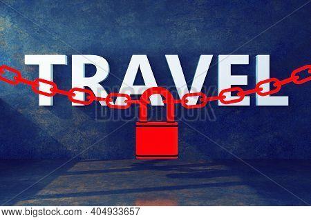 Word Travel Closure Padlock Concept. 3d Rendering