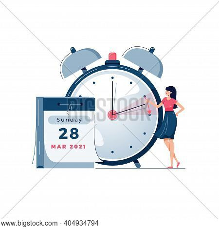 Daylight Saving Time Vector Illustration. Woman Pushes The Clocks Forward By An Hour, As Daylight-sa