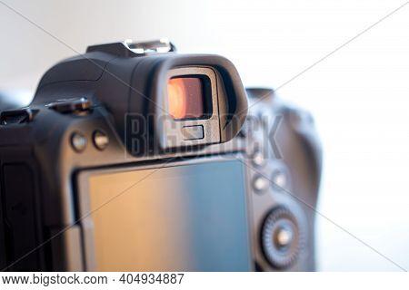 Part Of A Professional Digital Camera. Macro Photo Viewfinder And Camera Screen.