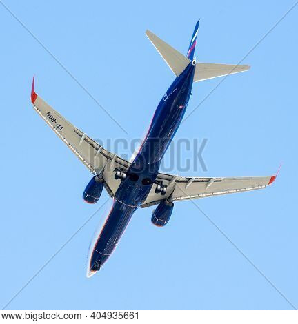 Sheremetyevo, Russia - May 09. 2018. Boeing 737-800 Of Airline Aeroflot In The Sky, Tail Number Vp-b