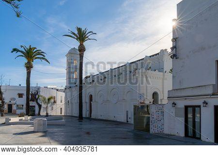 View Of The Church Of Santa Catalina And Square In Conil De La Frontera
