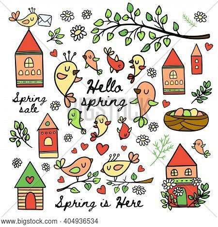 Birds In Spring Makes Their Nests Blooming Nature Branch With Leaves Merry Houses And Handwritten Te
