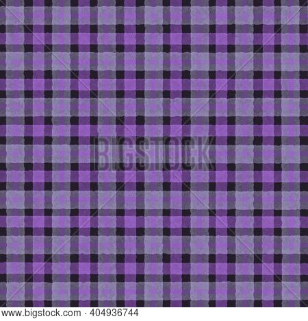 Purple Gray Black Lilac Vintage Checkered Background With Blur, Gradient And Grunge Texture. Classic