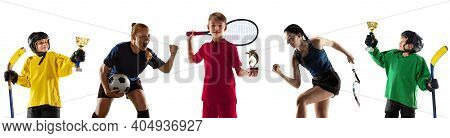 Champions. Portrait Of Young Sportive People On White Background. Flyer, Art Collage Made Of 5 Model