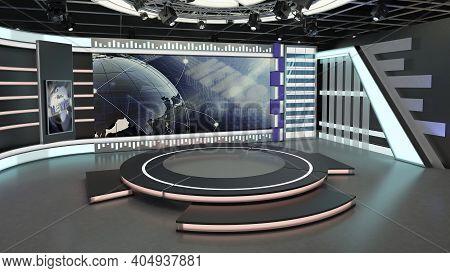 Virtual Tv Studio News Set 7. Green Screen Background. 3d Rendering. Virtual Set Studio For Chroma F