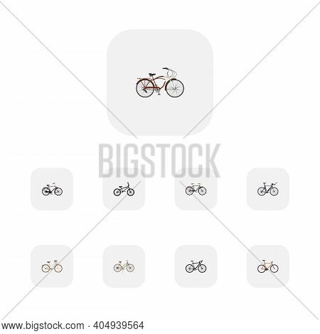 Set Of Bicycle Realistic Symbols With Bmx, Retro, Dutch Velocipede And Other Icons For Your Web Mobi