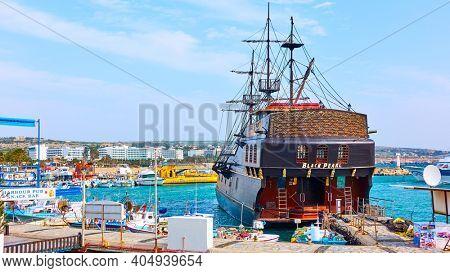 Aya Napa, Cyprus - January 24, 2019: Big tourist sail ship in the port of Ayia Napa (Agia Napa)