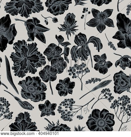 Seamless Pattern With Hand Drawn Stylized Anemone, Lavender, Rosemary Everlasting, Phalaenopsis, Lil