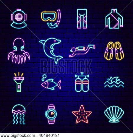 Scuba Diving Neon Icons. Vector Illustration Of Dive Promotion.