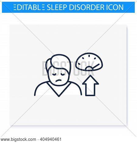 Weight Gain Line Icon. Sleep Disorder, Stress Symptom. Healthy Sleeping Concept. Metabolism Problem.