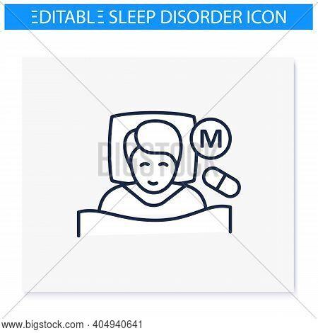 Melatonin Supplements Line Icon. Insomnia Hormonal Treatment. Sleep Disorder. Healthy Sleeping Conce