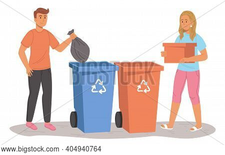 Male And Female Throwing Trash Into Dumpster. Flat Design Illustration. Vector