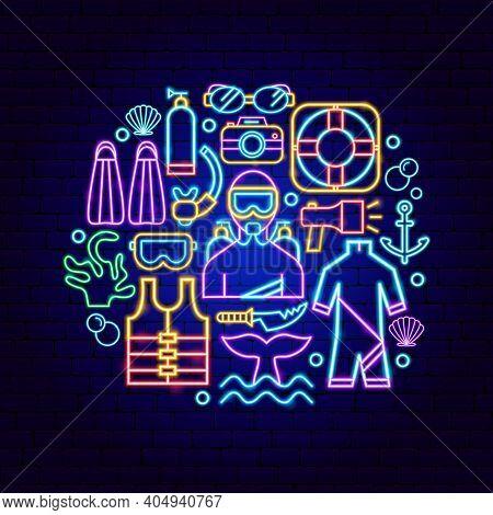 Diving Neon Concept. Vector Illustration Of Scuba Dive Promotion.