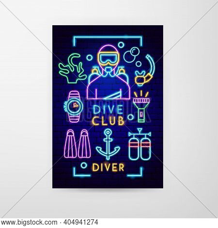 Dive Club Neon Flyer. Vector Illustration Of Scuba Diving Promotion.