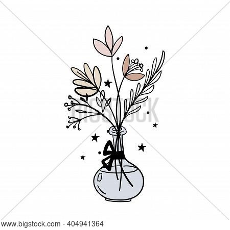 Hand Drawn Vase With A Bouquet Of Flowers, Magic Illustration. Bohemian Tattoo Sketch, Icon, Esoteri