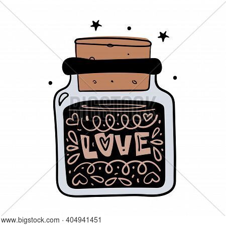 Love. Magic Jar With Love Potion, Boho Style Hand Drawing, Witch Tattoo, Tarot Card. Vector Sketch I