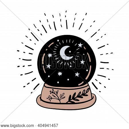 Magic Ball For Divination And Foresight, Magical Boho Tattoo Design For Witch, Witchcraft For Hallow