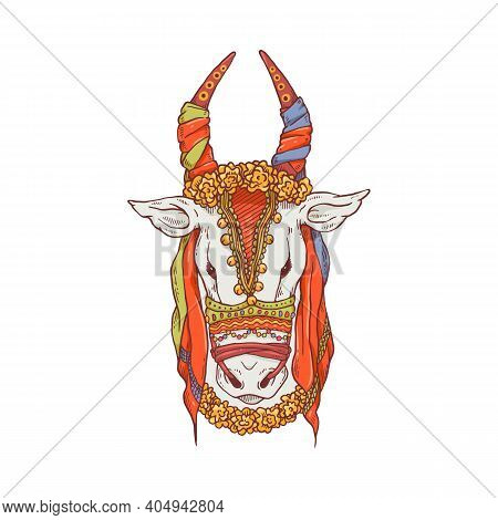 Pongal Cow Drawing - Cartoon Animal Head Decorated For Indian Festival