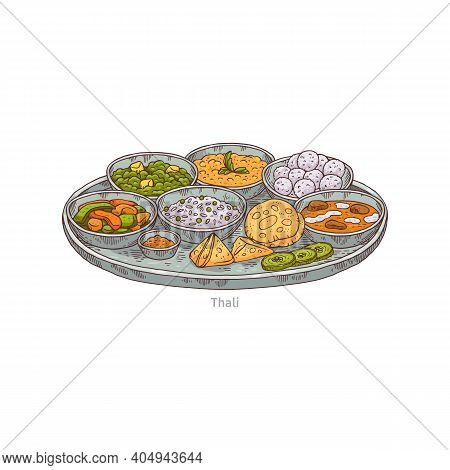 Tray With Several Different Dishes - Indian Thali A Vector Sketch Illustration