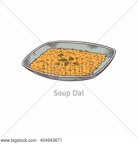 Indian Soup Dal From Lentils, Peas, Bobs Or Beans A Vector Illustration