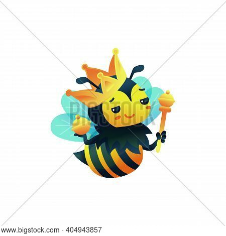 Cartoon Character Of Bee Queen In Gold Crown Flat Vector Illustration Isolated.