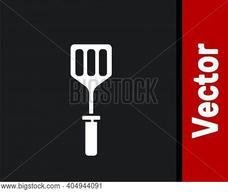 White Spatula Icon Isolated On Black Background. Kitchen Spatula Icon. Bbq Spatula Sign. Barbecue An