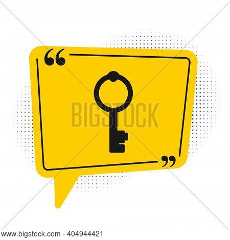 Black Old Key Icon Isolated On White Background. Yellow Speech Bubble Symbol. Vector