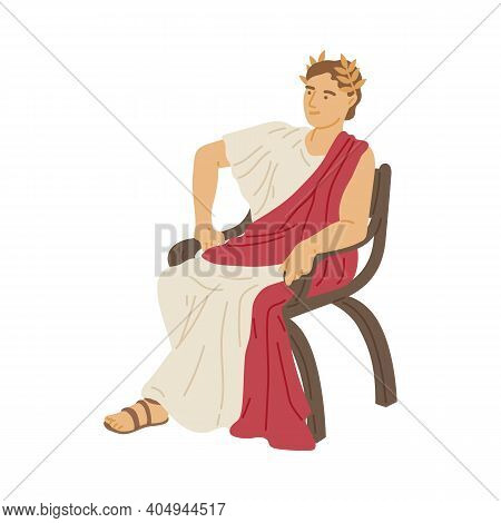 Antique Emperor Of Ancient Roman Patrician Flat Vector Illustration Isolated.