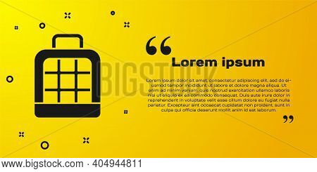 Black Pet Carry Case Icon Isolated On Yellow Background. Carrier For Animals, Dog And Cat. Container