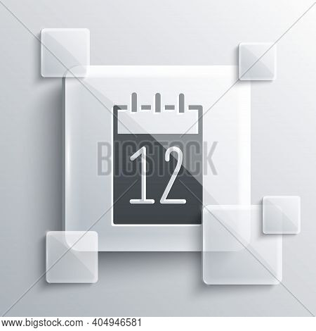 Grey Calendar 12 June Icon Isolated On Grey Background. Russian Language 12 June Happy Russia Day. S