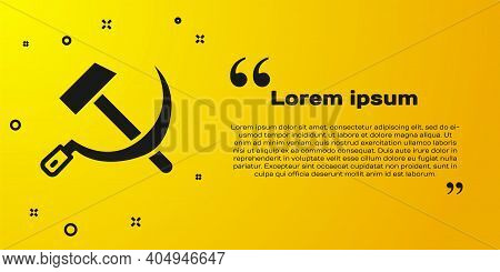 Black Hammer And Sickle Ussr Icon Isolated On Yellow Background. Symbol Soviet Union. Vector