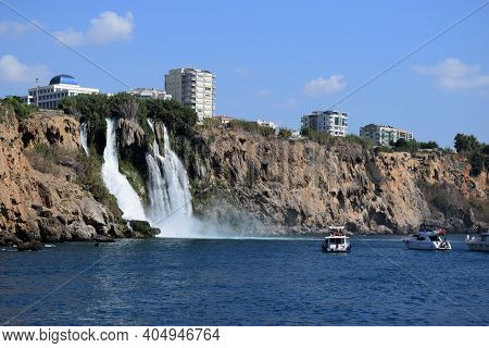 View Of The Antalya From The Mediterranean Sea. Lower Duden Waterfall In Antalya City. Popular Touri