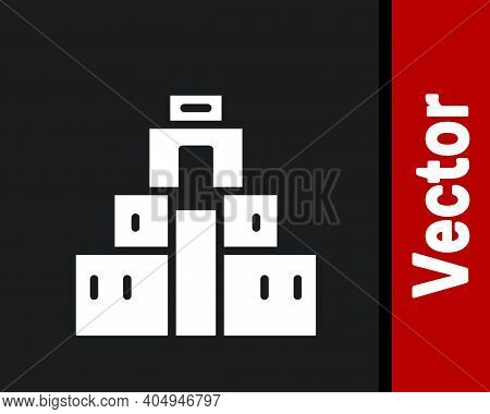 White Chichen Itza In Mayan Icon Isolated On Black Background. Ancient Mayan Pyramid. Famous Monumen