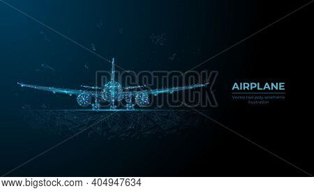 Abstract 3d Airplane In Dark Blue. Travel, Tourism, Business, Airline Transportation Concept. Digita