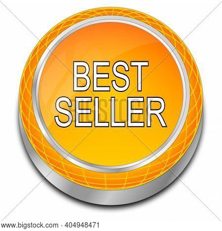 Bestseller Button Orange On White Background - 3d Illustration
