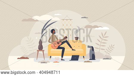 Learning Guitar Chords And Tabs As Practice Or Lesson Tiny Person Concept