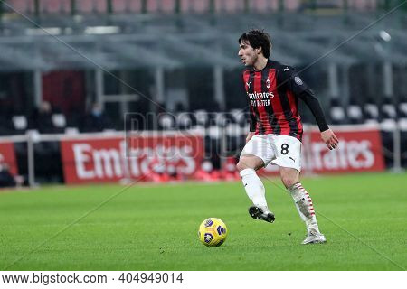 Milano, Italy. 23th Januery2021 . Sandro Tonali Of Ac Milan  During The Serie A Match Between Ac Mil