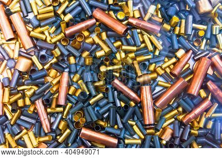Ammo Bullets, Military War Background. Army Supplies Texture