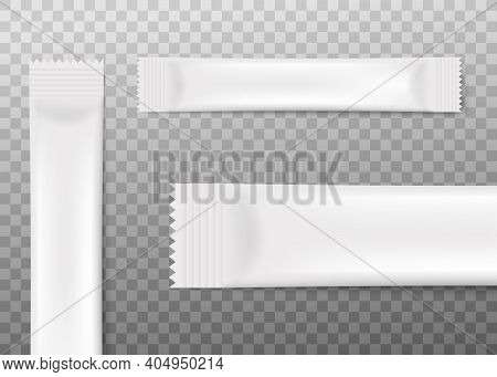 Set Templates Of Sachet Or Stick Packs Realistic Vector Illustration Isolated.