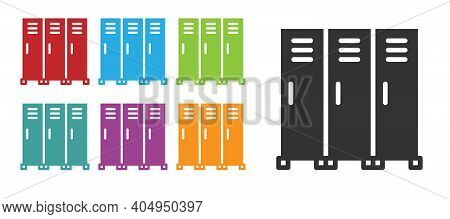 Black Locker Or Changing Room For Hockey, Football, Basketball Team Or Workers Icon Isolated On Whit